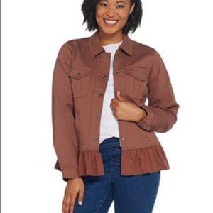 Snap front flounce bottom Jean jacket